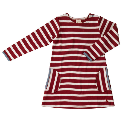 Ruby Red Stripe Dress - souzu.co.uk