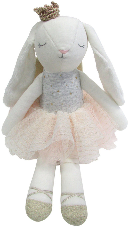 Bunny Velvet Cotton Toy with Crown and Gold Wings - souzu.co.uk
