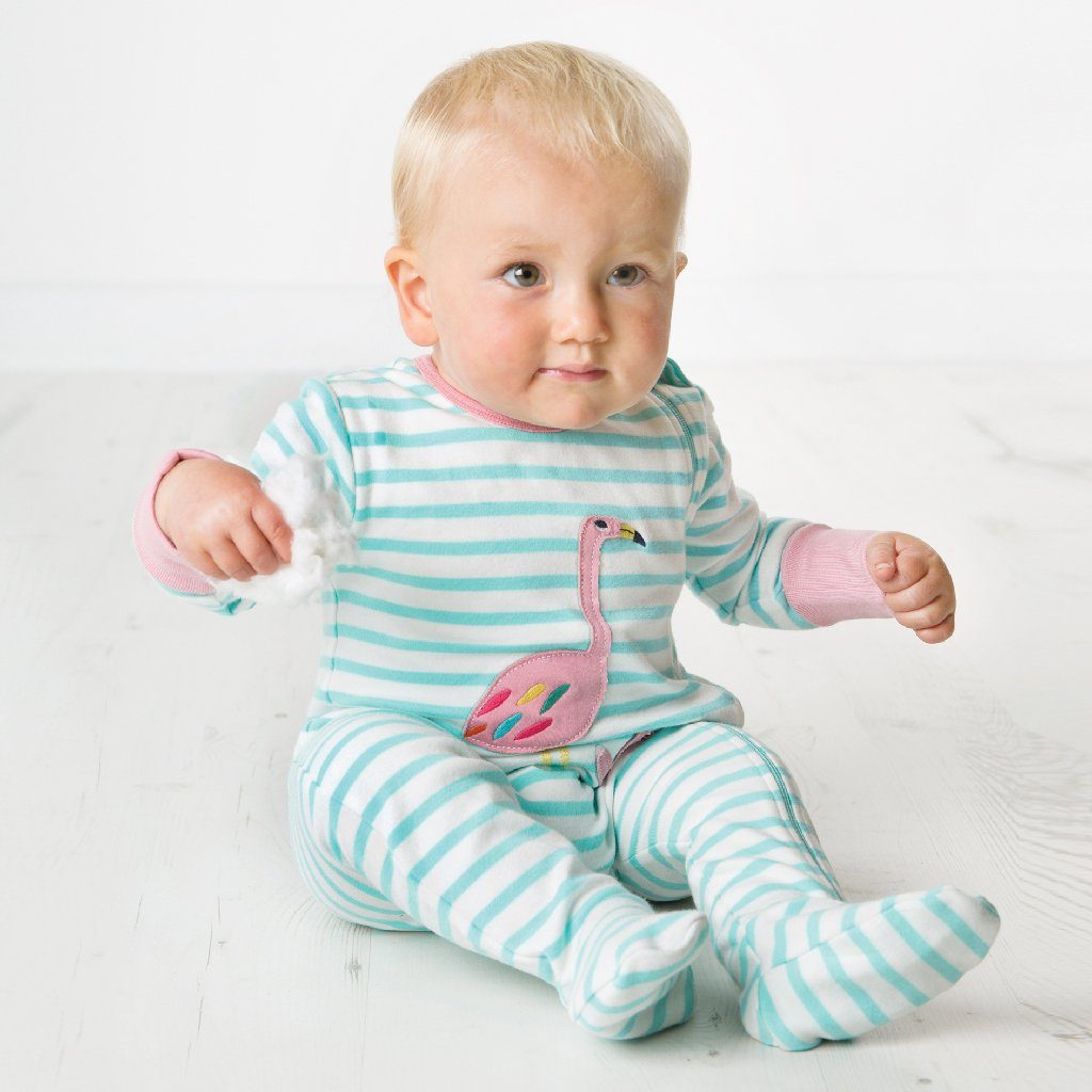 Flamingo Zipped Babygrow - souzu.co.uk