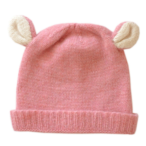 Cashmere Bear Hat with Ears - pink - souzu.co.uk