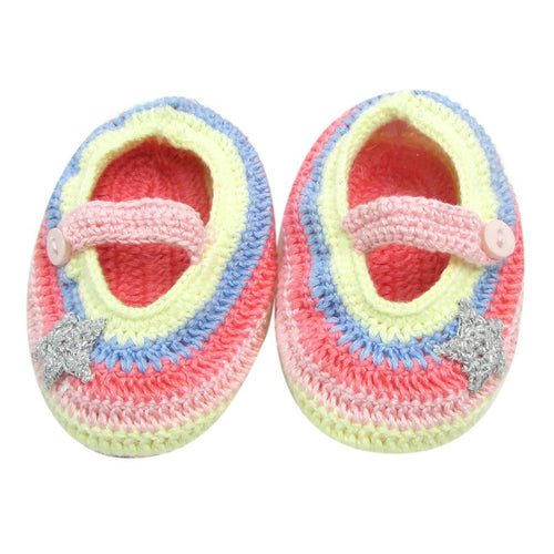 Rainbow Crochet Booties in box