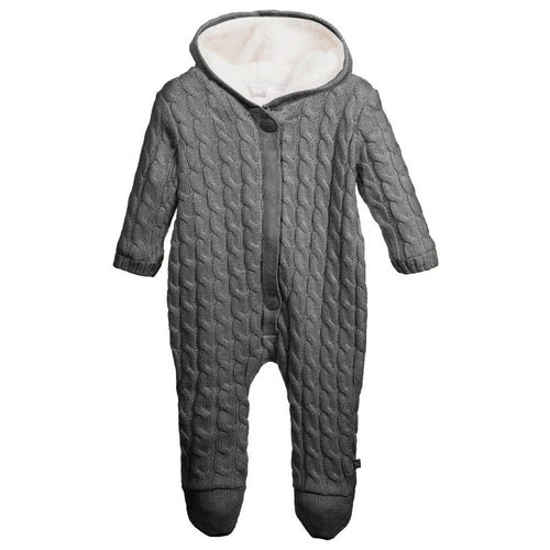 Charcoal Knitted Pramsuit - souzu.co.uk