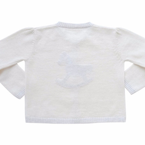 Knitted Rocking Horse Cotton Cashmere Cardigan - Cream - souzu.co.uk