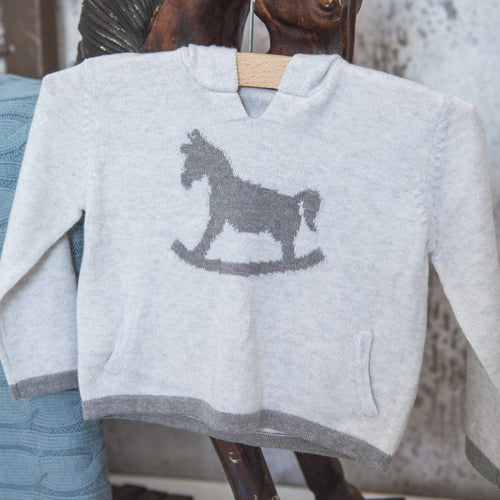 Rocking Horse Cotton Cashmere Hoody - soft grey - souzu.co.uk