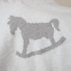 Grey - Rocking Horse Cotton Cashmere Hoody - souzu.co.uk