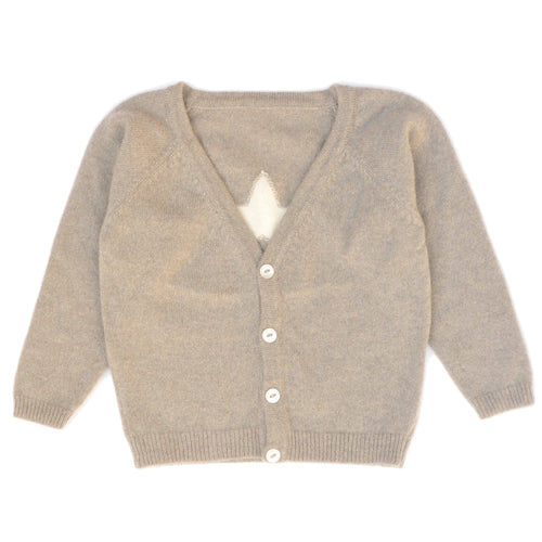 Cashmere Cardigan with Star, Biscuit