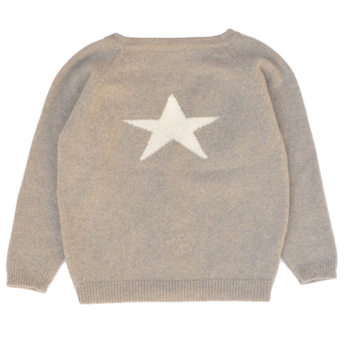 Cashmere Cardigan with Star, Biscuit - souzu.co.uk