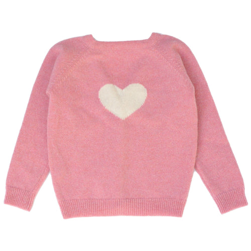 Pink V-Neck Cashmere Cardigan with Heart - souzu.co.uk