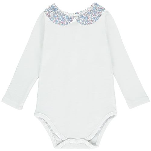 Eloise Long Sleeve Bodysuit with Blue Liberty collar