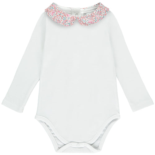 Elois Long Sleeve Bodysuit with Pink Liberty collar