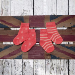 Salmon and Coral Socks - 2 Pack - souzu.co.uk