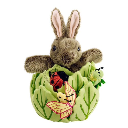 Rabbit in a Lettuce Hide away Puppet - souzu.co.uk
