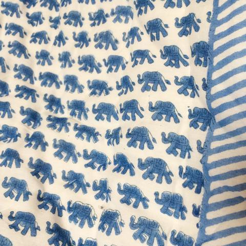 Blue Mini Elephant Cot Quilt - souzu.co.uk