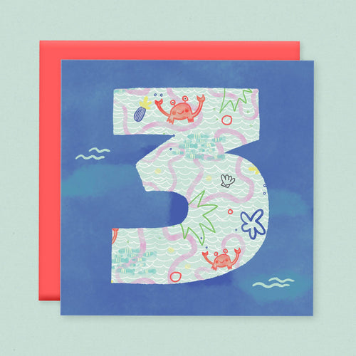 Age 3 Birthday Card - souzu.co.uk