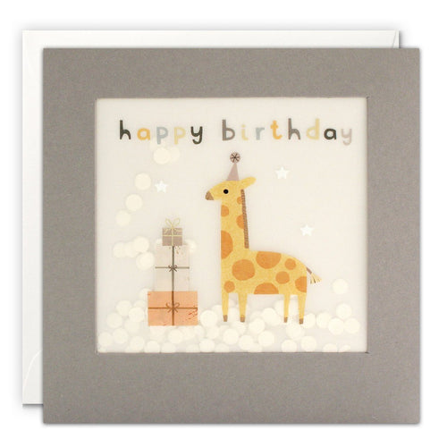 Happy Birthday Giraffe Grey Paper Shakies Card - souzu.co.uk