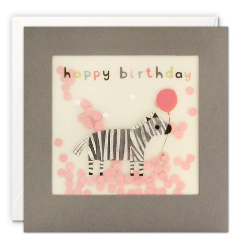 Happy Birthday Zebra Grey Paper Shakies Card