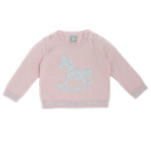 Rocking Horse Jumper - pink & soft grey
