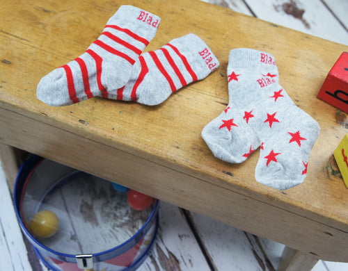 Marl Grey and Red Socks - 2 Pack