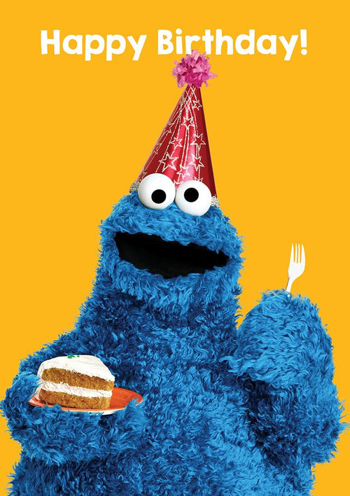 Sesame Street Cookie Monster Birthday Card - souzu.co.uk