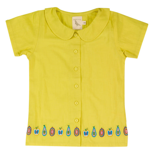 Yellow Embroidered Summer Shirt - souzu.co.uk