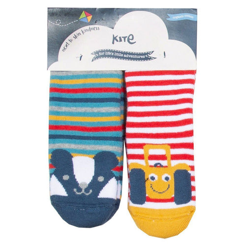 Happy Tractor and Badger 2 pack grippy socks - souzu.co.uk