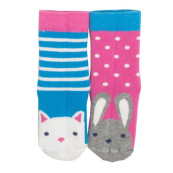 Cat and Bunny 2 pack of Grippy Socks - souzu.co.uk