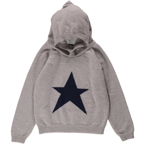 Pale Grey Star Cashmere Hoody - souzu.co.uk