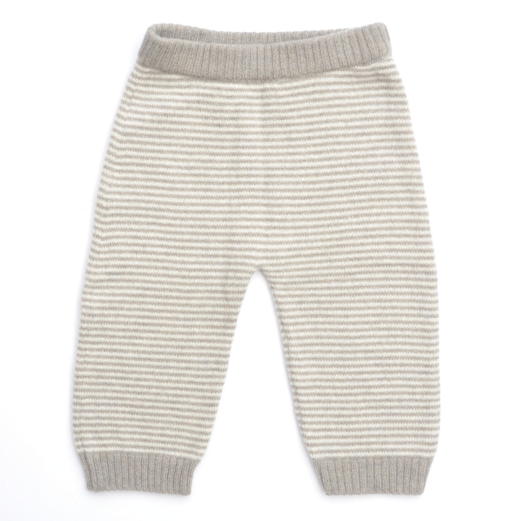 Stripped Cashmere Trousers, Biscuit