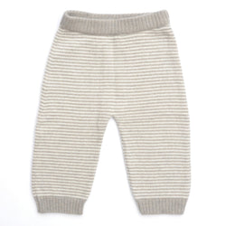 Stripped Cashmere Trousers, Biscuit - souzu.co.uk