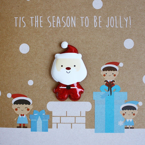Santa with Elves Card - souzu.co.uk
