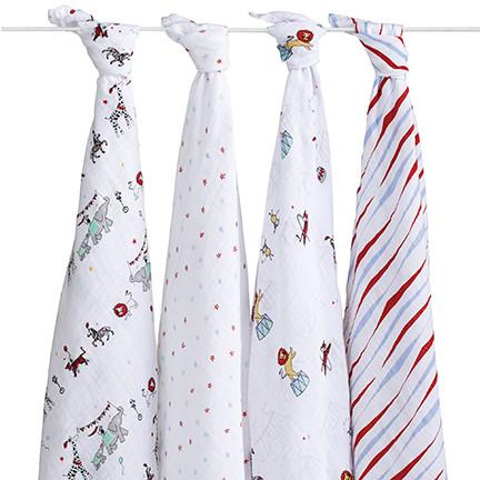 Vintage Circus Swaddle Packs of 4