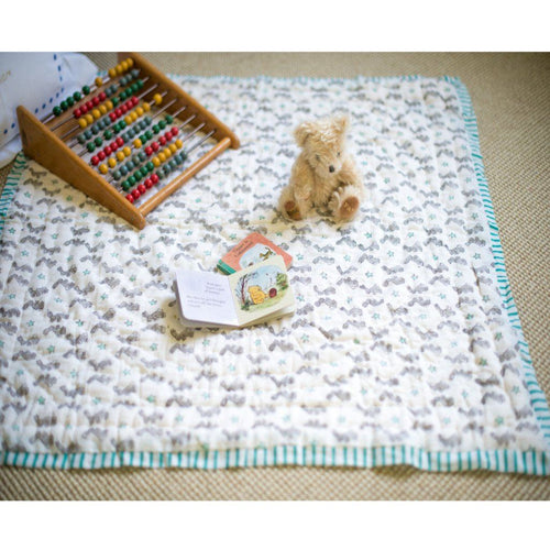 Aqua Bunny Baby Quilt - souzu.co.uk