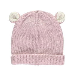Dusty Rose Cashmere Bear Hat - souzu.co.uk