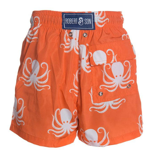 Father & Son Orange Octopus Swim Shorts - souzu.co.uk