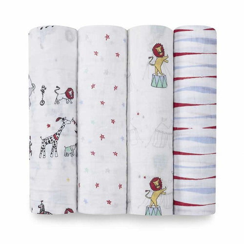 Vintage Circus Swaddle Packs of 4 - souzu.co.uk