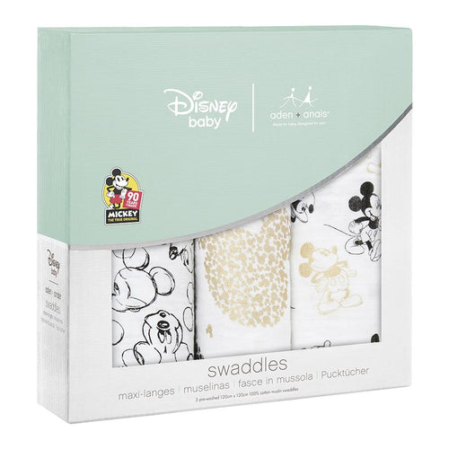 Mickey Mouse 90th Celebration Swaddle Pack of 3 - souzu.co.uk