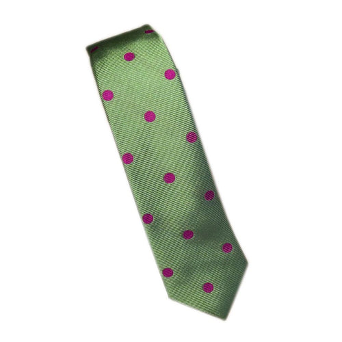 Green Silk Tie with Dots - souzu.co.uk