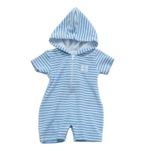 Wee Whales Terry Stripe Hooded Beach Romper - souzu.co.uk