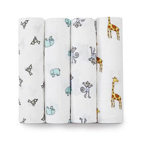 Jungle Jam Swaddle Pack of 4 - souzu.co.uk