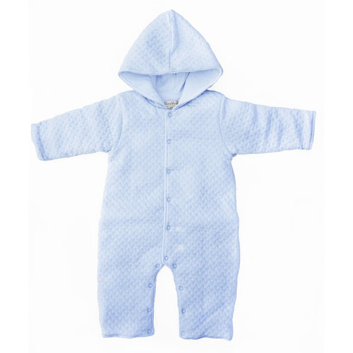 Blue Jacquard Padded Pramsuit - souzu.co.uk
