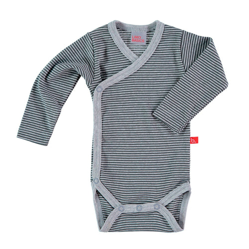 Grey Striped Long Sleeved Kimono Bodysuit