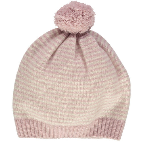 Dusty Rose Cashmere Stripe Hat - souzu.co.uk