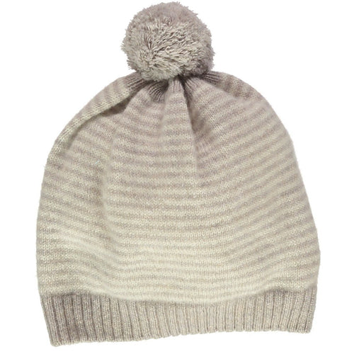 Mushroom with Cream Cashmere Stripe Hat