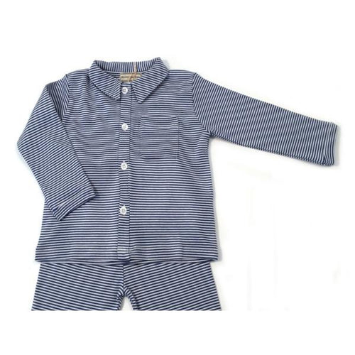 Navy Stripe Pyjamas - souzu.co.uk