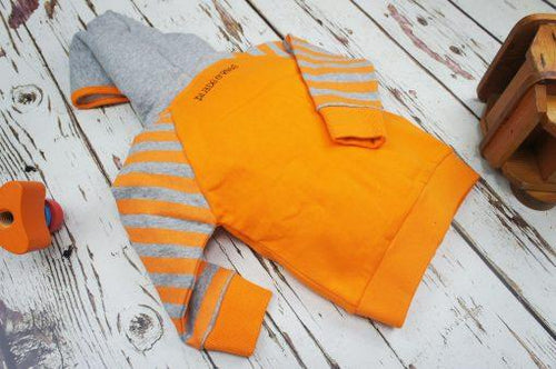 Striped Orange & Grey Hoodie - souzu.co.uk