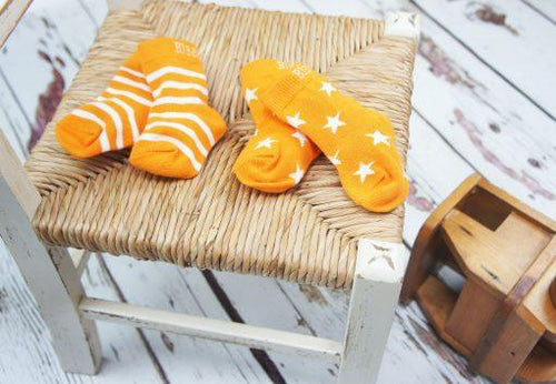 Orange and Cream Stars and Stripes Socks - 2 Packs - souzu.co.uk