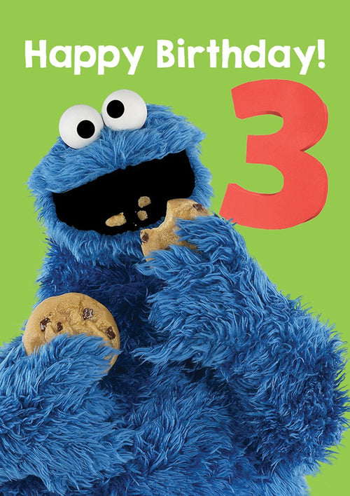 Sesame Street Cookie Monster Age 3 Card