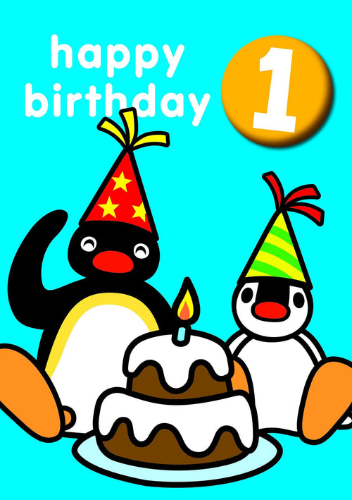 Pingu Birthday Card with Badge