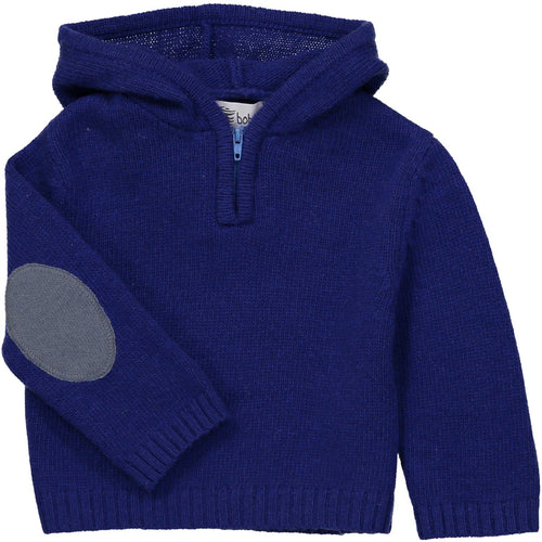 Blue Zipped Hooded Sweater - souzu.co.uk