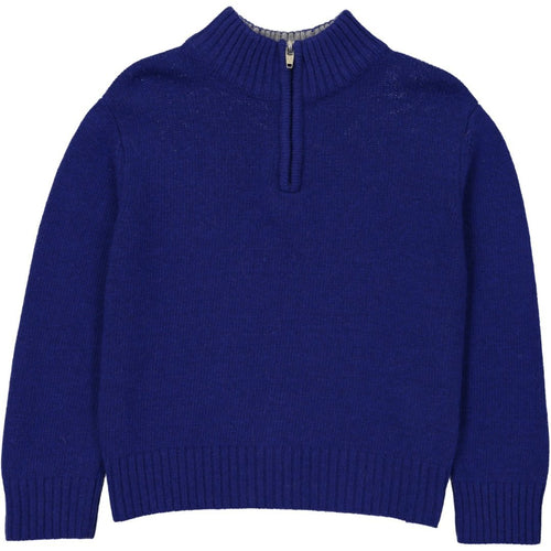 Blue Zip Neck Sweater - souzu.co.uk